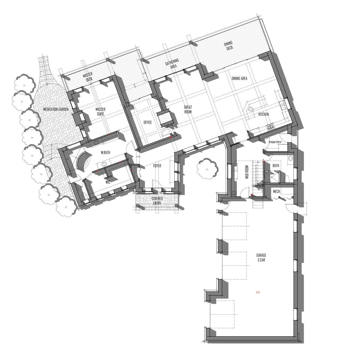 Trinity Building Systems premanufactured custom home main level floor plans Ozark model