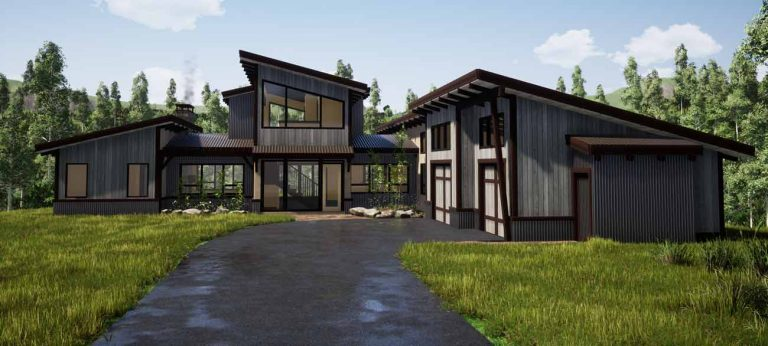 Modern prefabricated timber frame house plan by Trinity Building Systems.