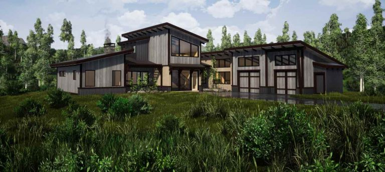 Modern timber frame house plan exterior front view.