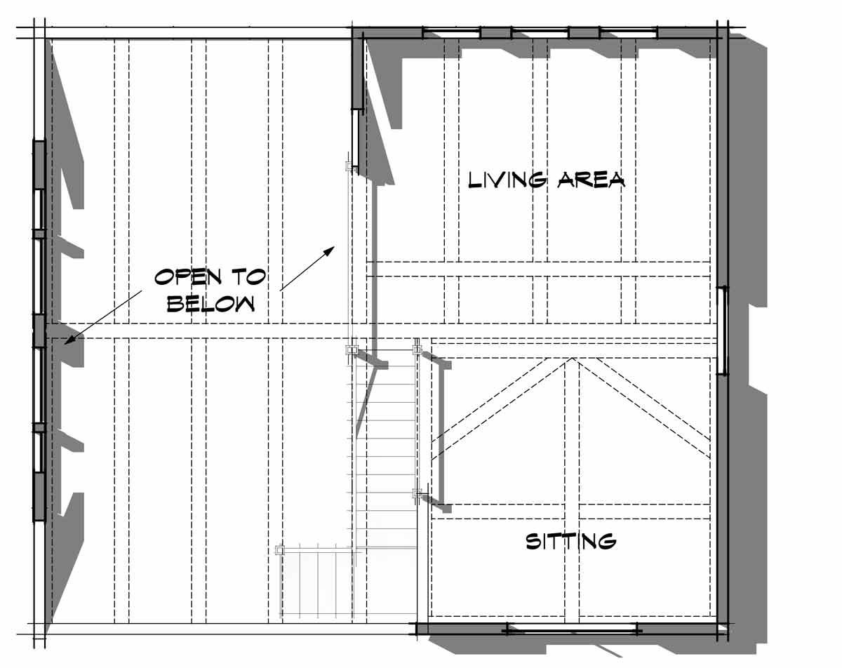Trinity Building Systems prefabricated cabin - Powderhorn Model - lower level floor plan.