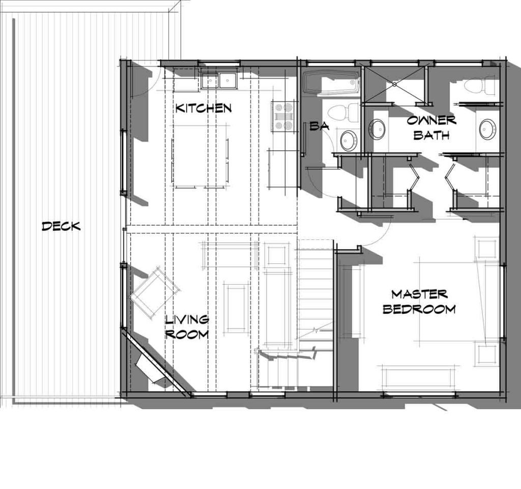 Trinity Building Systems prefabricated cabin - Powderhorn Model - main level floor plan.