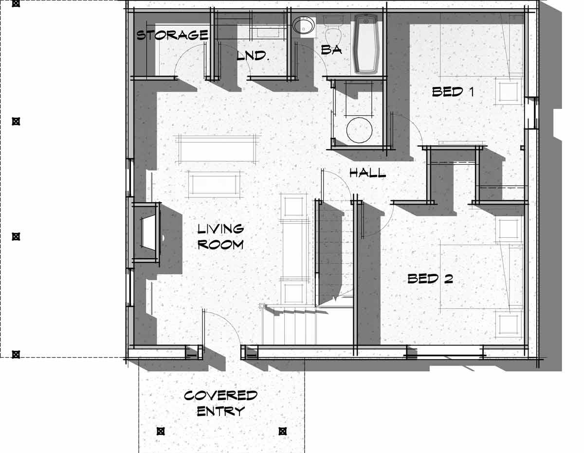 Trinity Building Systems prefabricated cabin - Powderhorn Model - upper level floor plan.