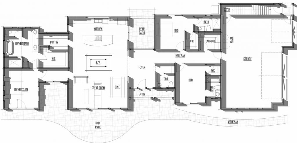 Trinity Building Systems Steigman House Material Package - Floor Plan - Main Level