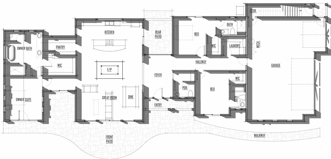Trinity Building Systems Steigman House Material Package - Floor Plan - Main Level