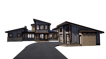 Trinity Building Systems Suncadia Gray Custom Pre Manufactured Home Project Front View