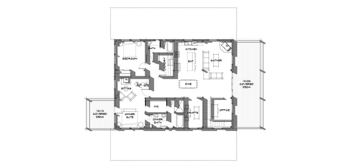 Wallowa upstairs level floor plan