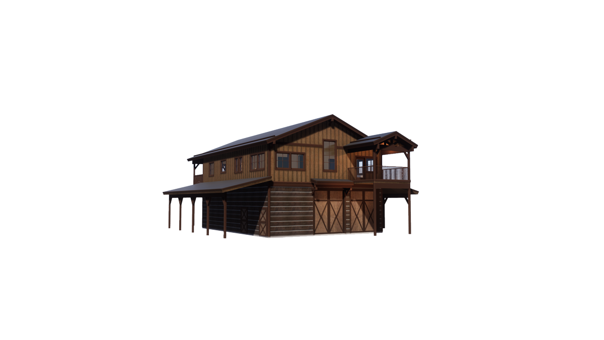 Trinity Building Systems Wallowa House Prefabricated Custom Home Left Front View No Background