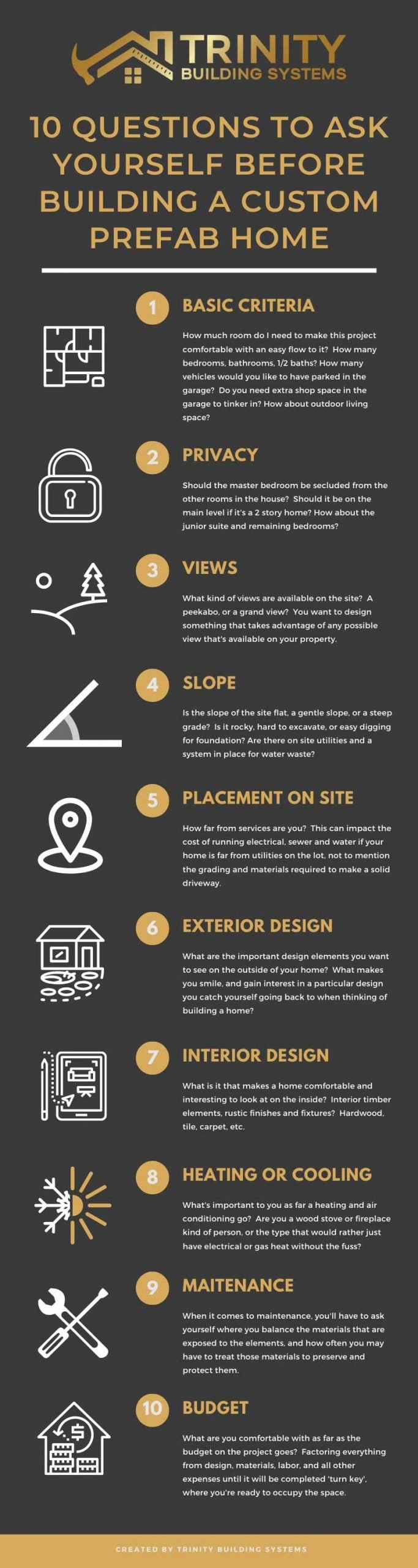 Trinity Building Systems 10 Questions to Ask Before Building a Prefab Home Infographic