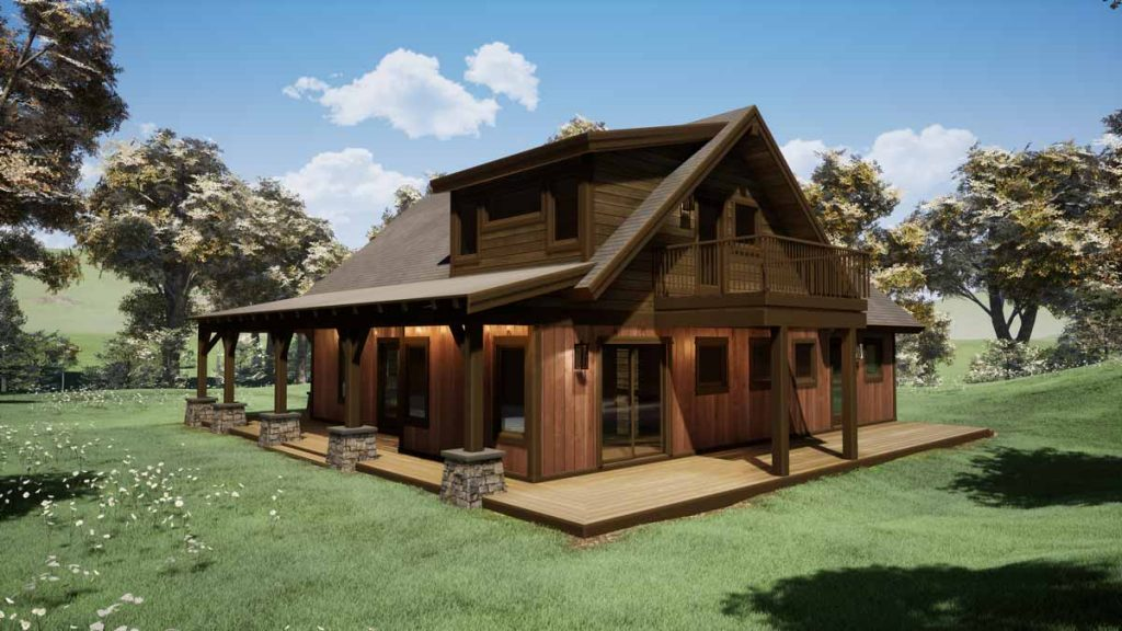 Trinity Building Systems Timber Frame Prefabricated Cabin - The Parkrose - Front Patio View