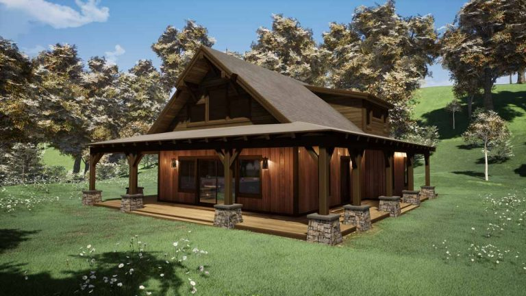 Trinity Building Systems Parkrose prefab timber frame cabin kit - side view.