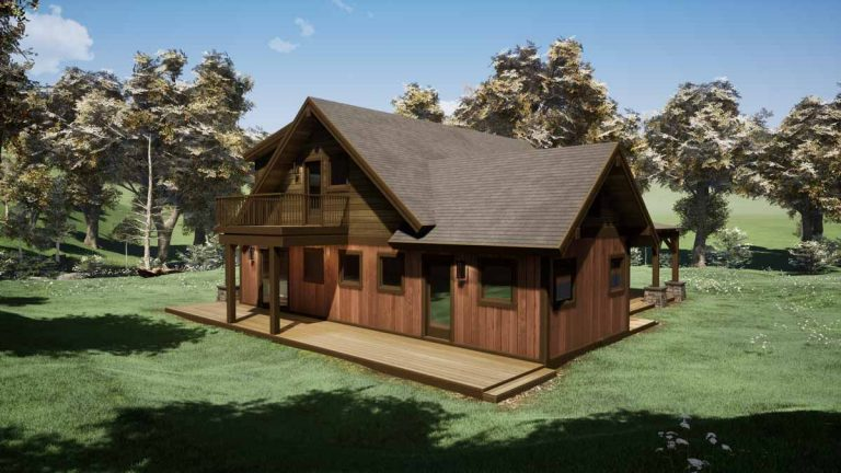Trinity Building Systems Parkrose prefabricated cabin plans - side view.