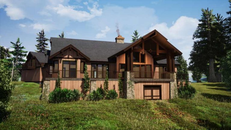 Trinity Building Systems Prefabricated Mountain Home - The Summit - Timber Frame House Plans