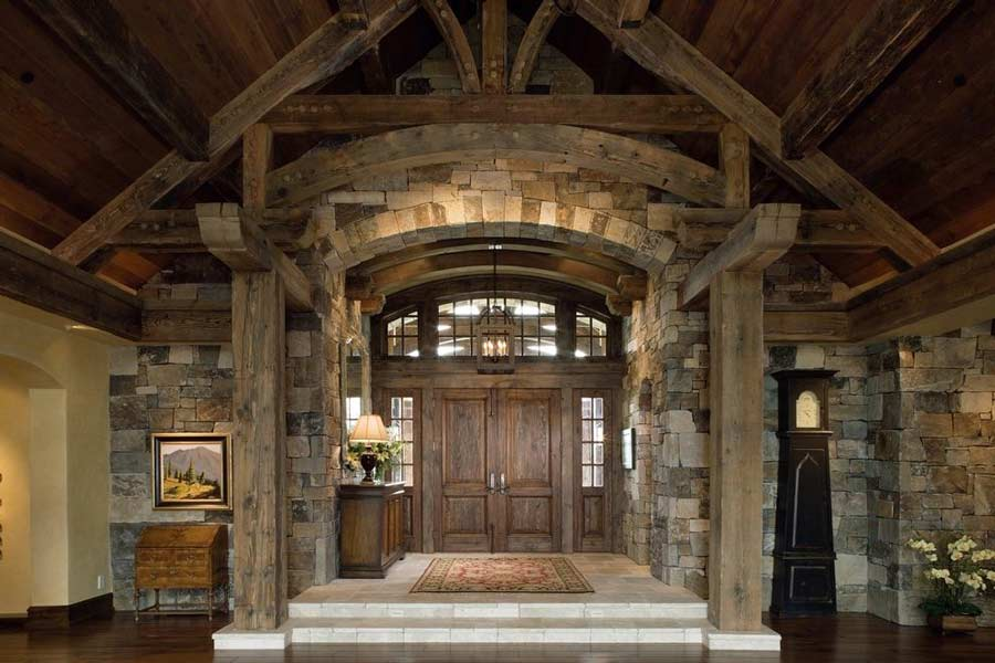 Trinity Building Systems parent company timber framed entry way.