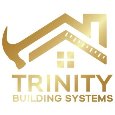 Trinity Building Systems golden logo on white background.