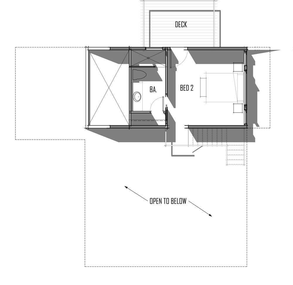 Trinity Building Systems Parkrose prefabricated home upper level floor plan