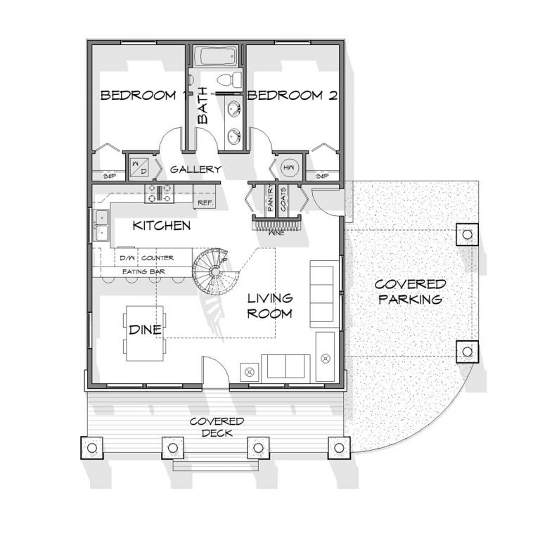 Trinity Building Systems timber frame cabin floor plan with 2 bedrooms.