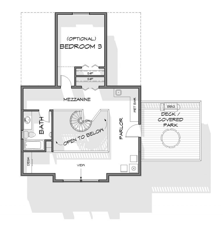 Trinity Building Systems prefabricated cabin kit floor 2 bedroom floor plan - upper level.