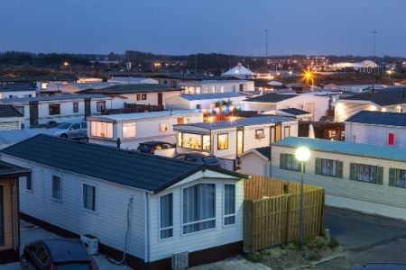 Cookie Cutter neighborhood filled with manufactured housing units.