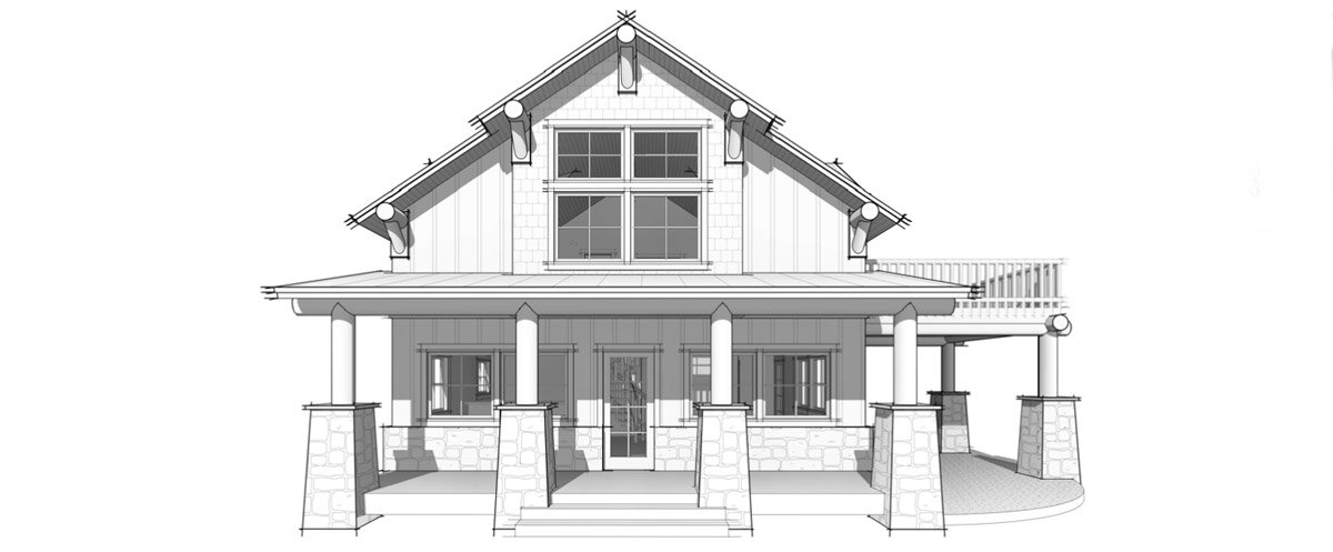 Buck Hollow timber frame cabin front elevation image by Trinity Building Systems.