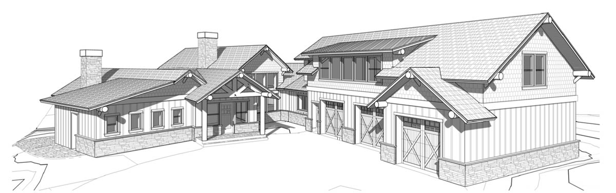 Timber frame mountain home front elevation - The Ozark.