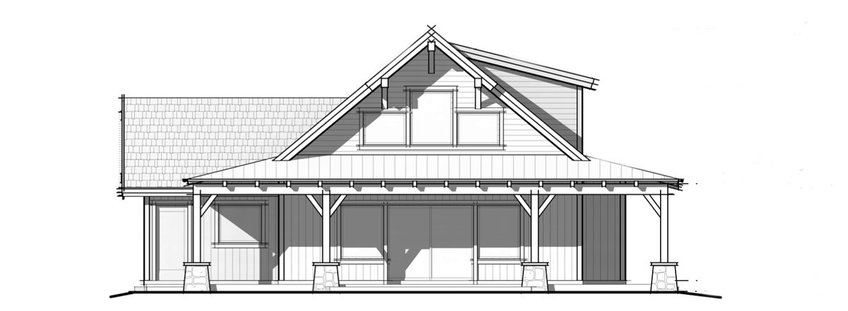1,600 Sqaure foot prefab cabin fron elevation image; The Parkrose.