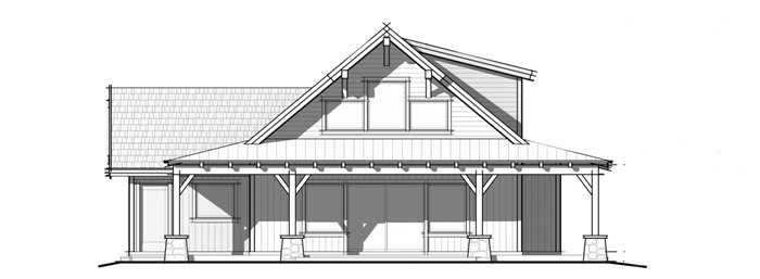 Trinity Building Systems Parkrose prefabicated cabin floor plan - front elevation.
