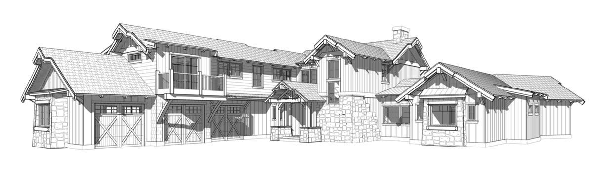 Prefab mountain home plans - front elevation - The San Juan