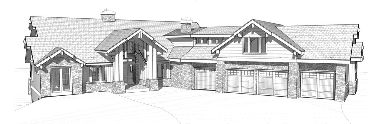 Post and beam kit home front elevation - The Summit Model
