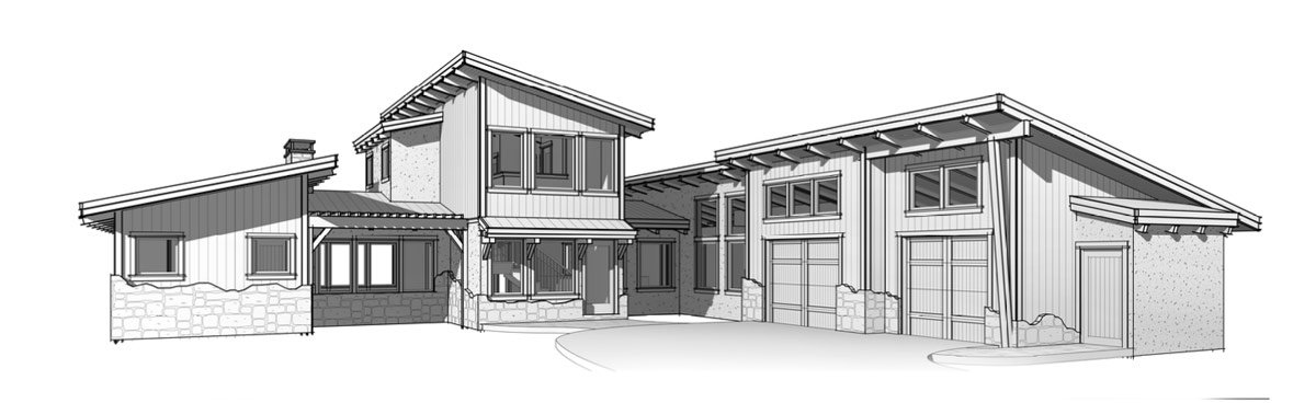 Suncadia - Modern rustic timber home front elevation.