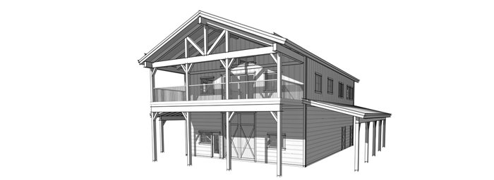 Timber Frame shop with living quarters floor plans by Trinity Building Systems - The Wallowa