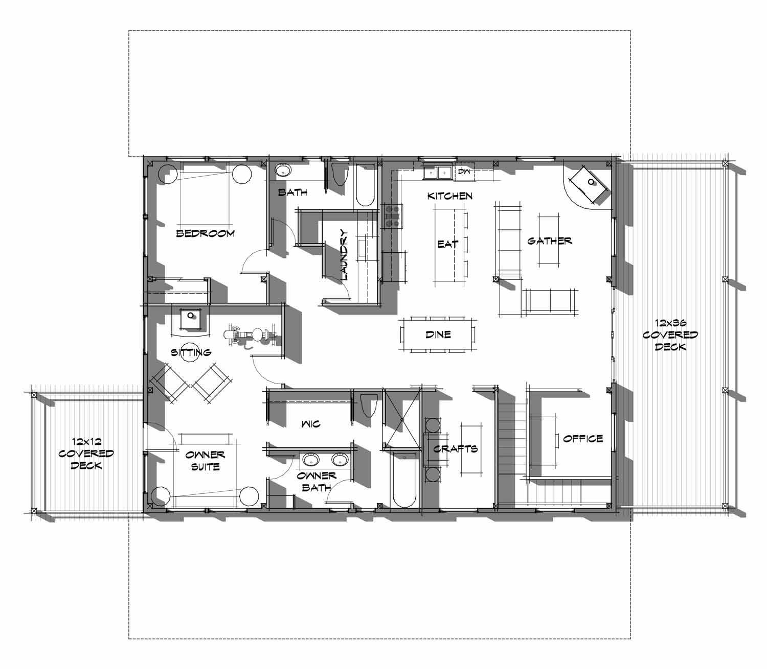 Timber frame shop with living quarters upper level floor plan - The Wallowa