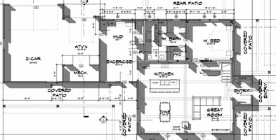 Example of a modified cabin floor plan by Trinity Building Systems.