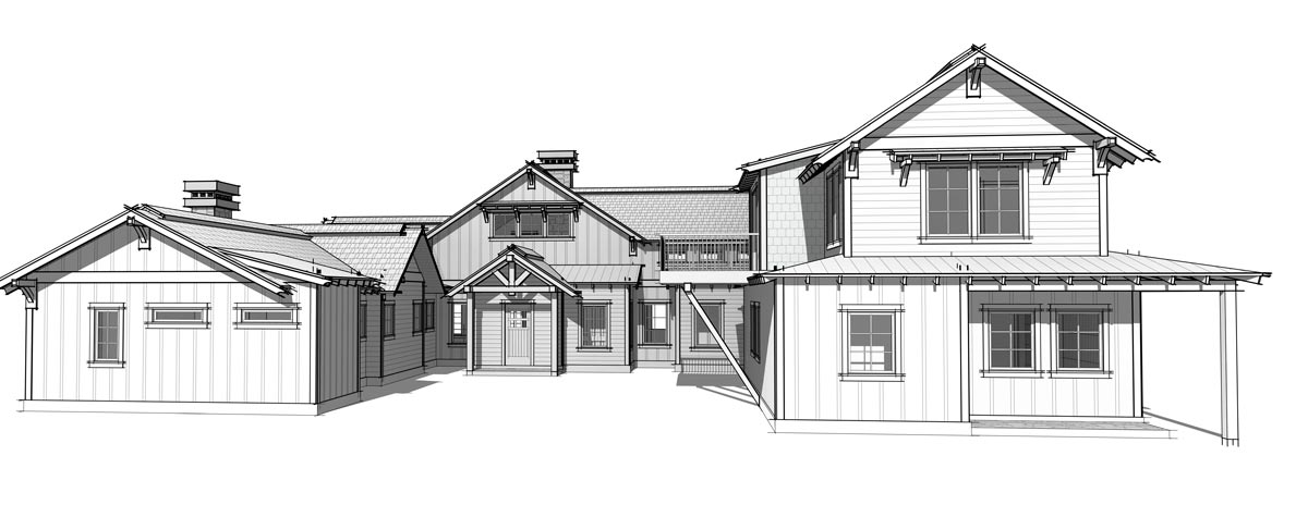Timber frame home plans for the Elk Meadow model by Trinity Building Systems - Front Elevation