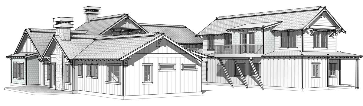 Timber frame mountain home front right elevation; the Elk Meadow home.