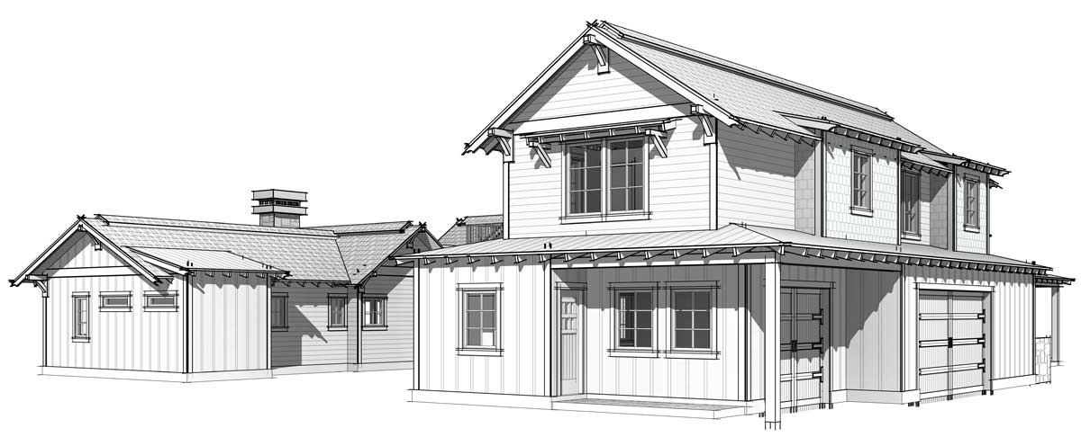 Post and beam home plan front elevation; The Elk Meadow home.