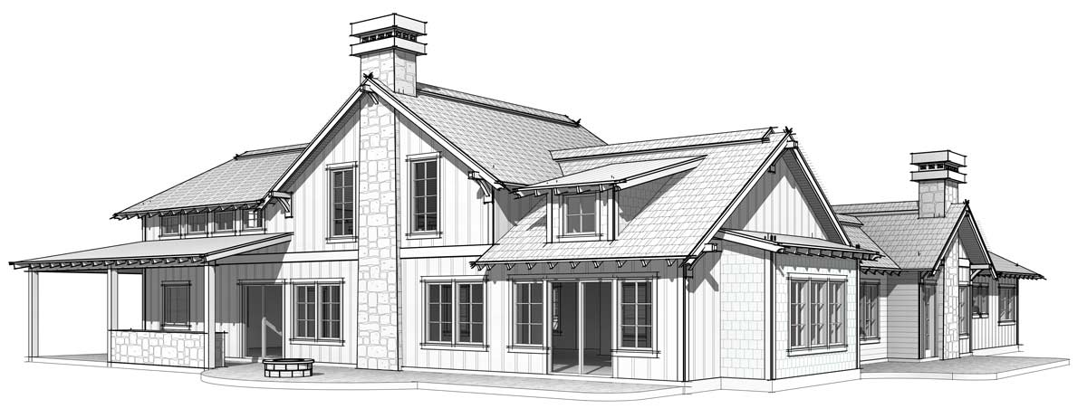 Post and beam house plan rear elevation; The Elk Meadow model.