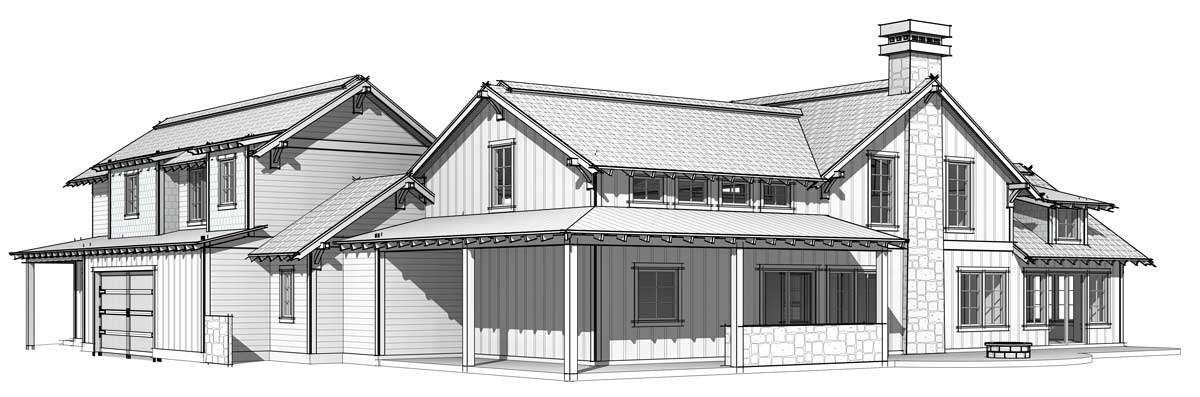 Timber Frame home plan by Trinity Building Systems displaying the black and white rear elevation.