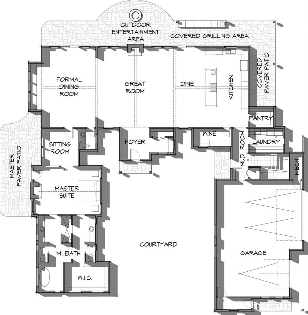 Main level of the Elk Meadow timber frame floor plan with 3,400 square feet of living space.