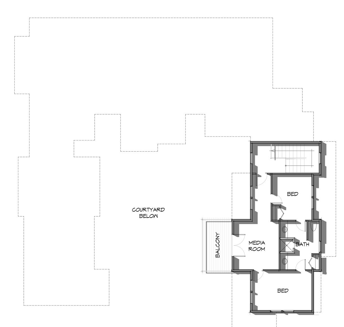 Upper level floor plan for the Elk Meadow timber frame home from Trinity Building Systems featuring 798 square feet of living space.