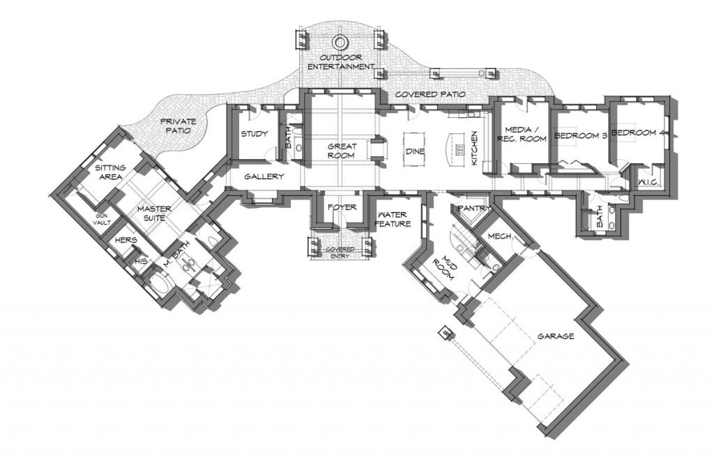 5,000 square foot timber frame floor plan main level; The Highlander.