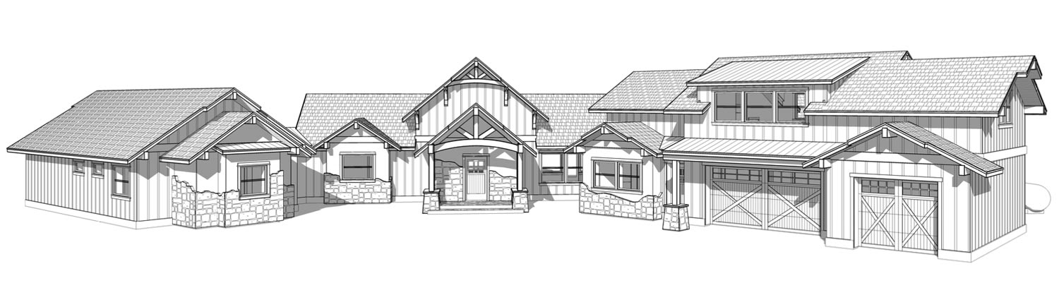 The Highlander timber frame home package front elevation perspective.