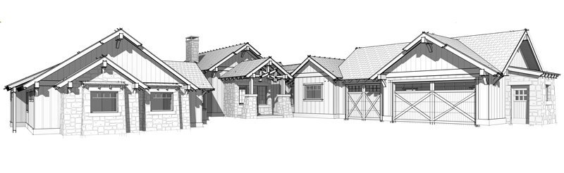 Single story timber frame home floor plan by Trinity Building Systems; The Homestead model.