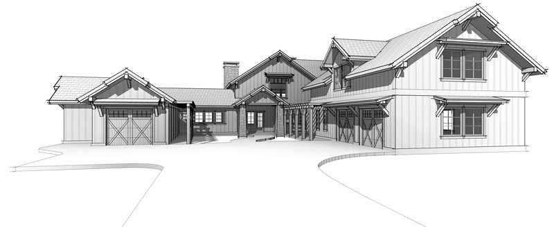 The Lone Peak, prefabricated Timber Frame Moutain Home by Trinity Building Systems; Front Elevation.