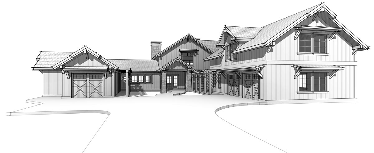 Timber Frame home plan fron elevation view by Trinity Building Systems; The Lone Peak model.