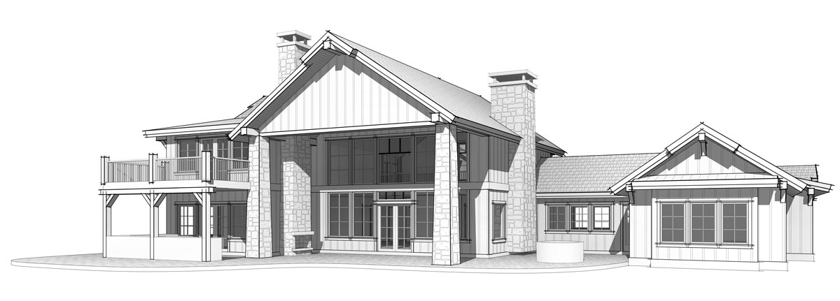 Prefabricated timber frame home plan rear elevation by Trinity Building Systems; The Lone Peak model.