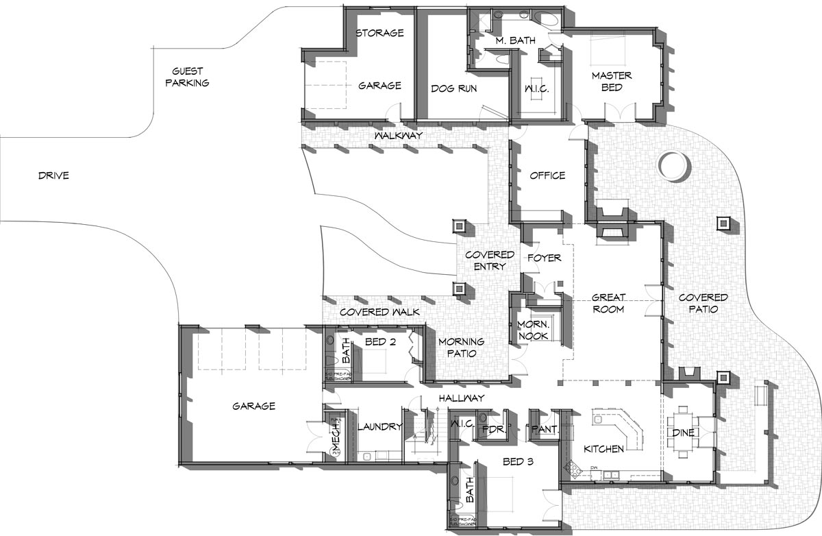 7,000 square foot timber frame home floor plan by Trinity Building Systems; The Elk Meadow Main Level.