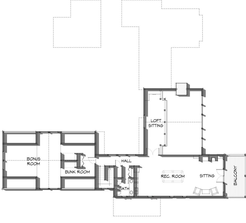 7,000 square foot timber frame home floor plan by Trinity Building Systems; The Elk Meadow Upper Level.