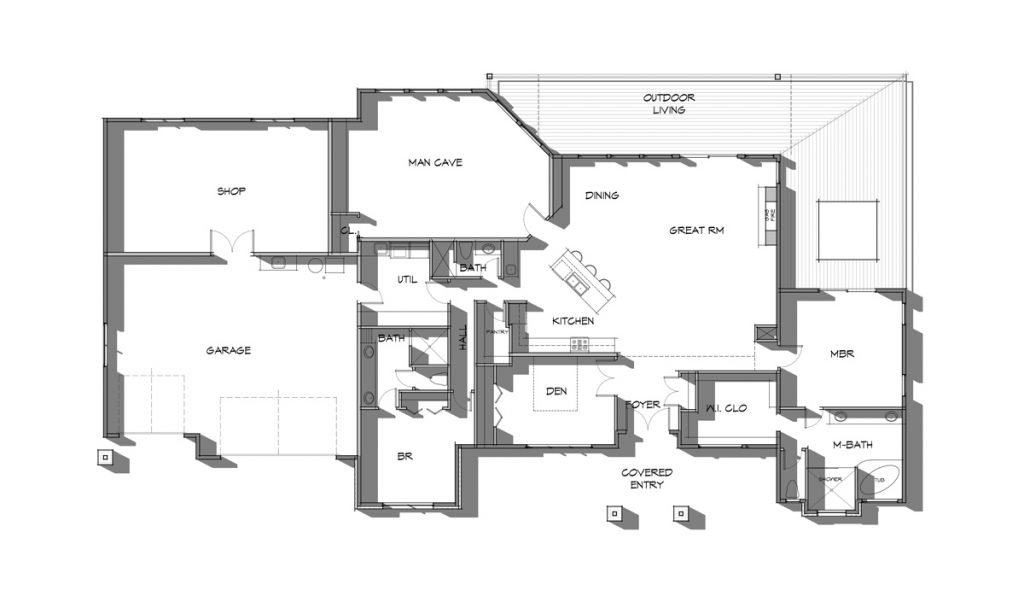 Modern rustic style prefab home floor plan with details - The Sundance
